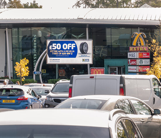 Busy Motorway Service Station Car Park